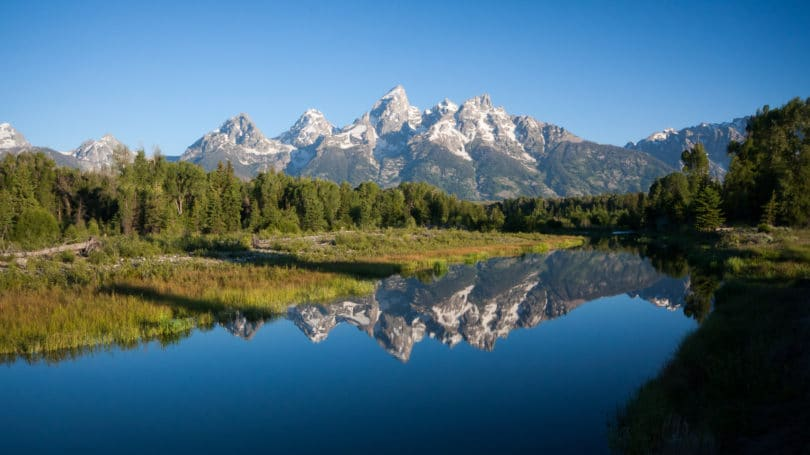 Grand Tetons Wyoming Peaks Reflection