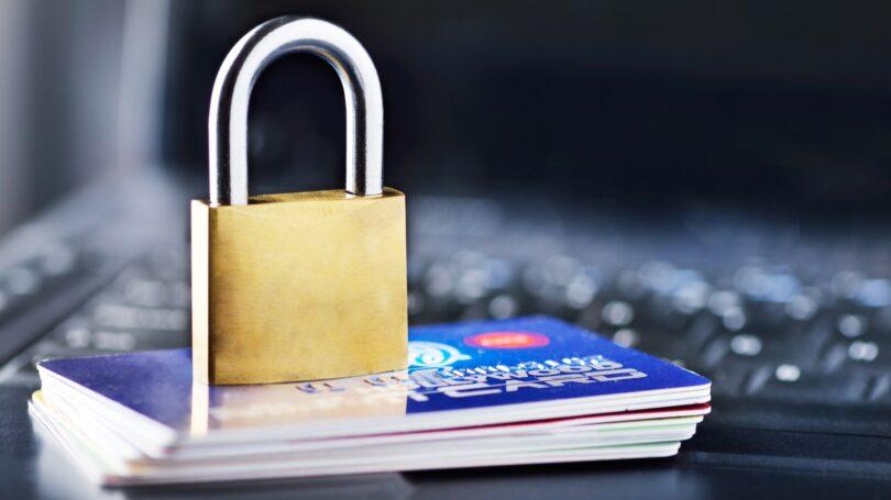 Padlock Credit Cards Laptop Protection