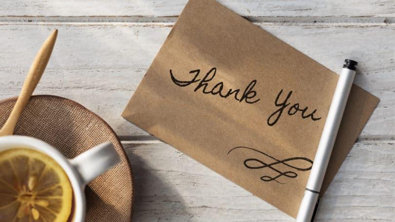 Thank You Hand Written Note Tea Lemon