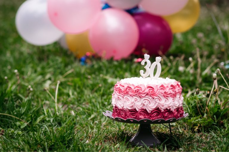 30 Years Old Cake Balloons Outdoors Grass