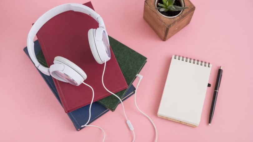 Audiobooks Desk Notepad Headphones Plant