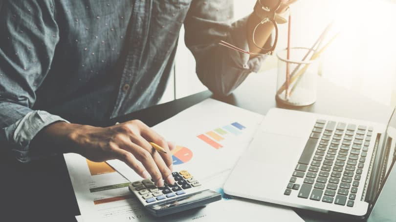 Calculating Expenses Calculator Laptop Graphs