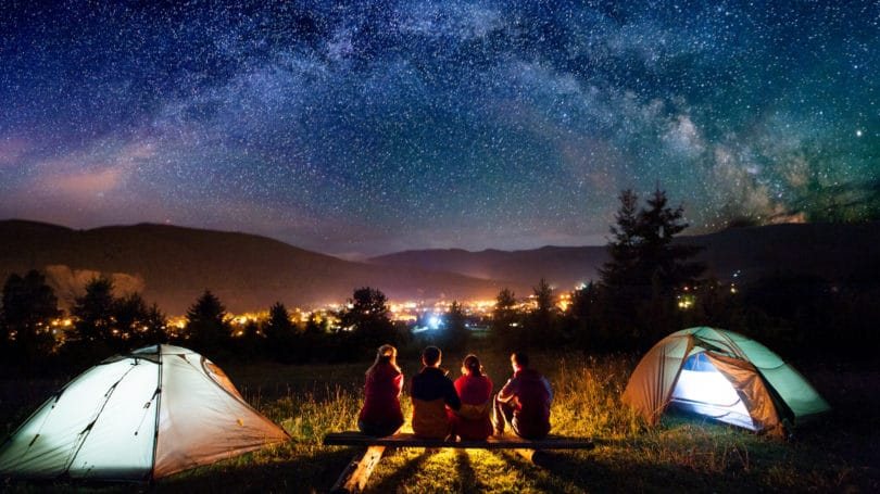 Camping Under The Stars Night Sky Tents Friends Mountains