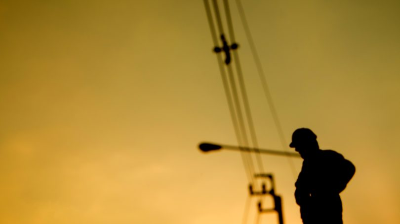 Construction Worker Horizon Silhouette Sunset