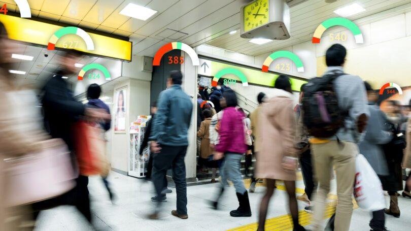 Credit Score Passenger Evening Commute Train Station