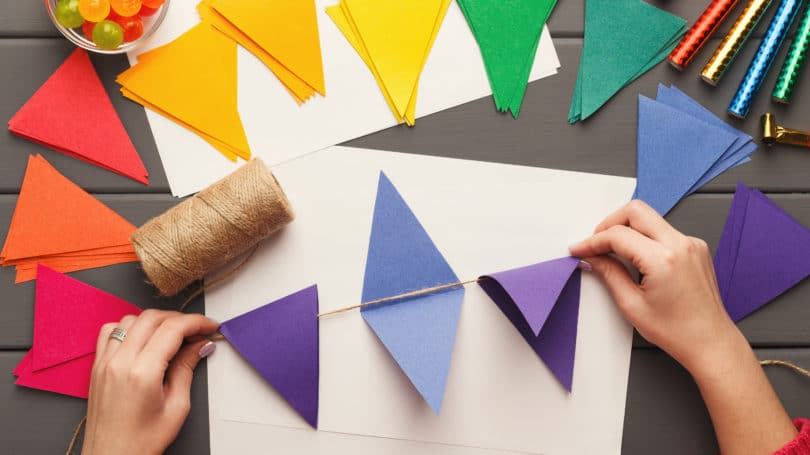 Diy Craft Construction Paper Triangle Banner Garland Rainbow