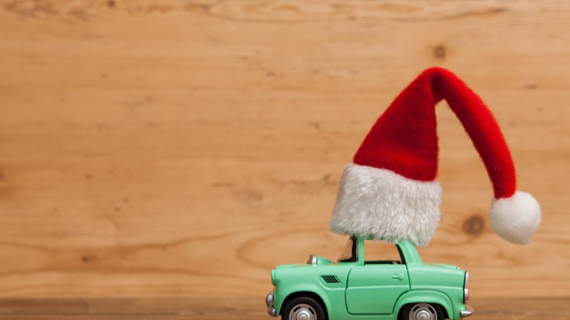 Festive Car Christmas Hat Drive To Holiday Concept