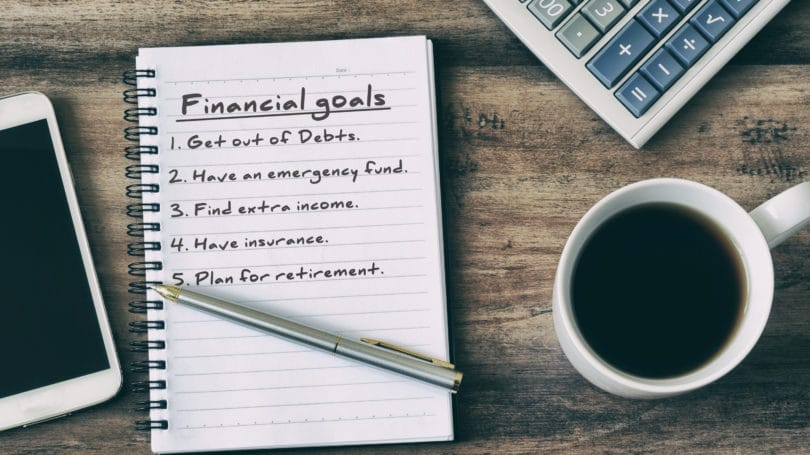 Financial Goals Notebook Pen Coffee