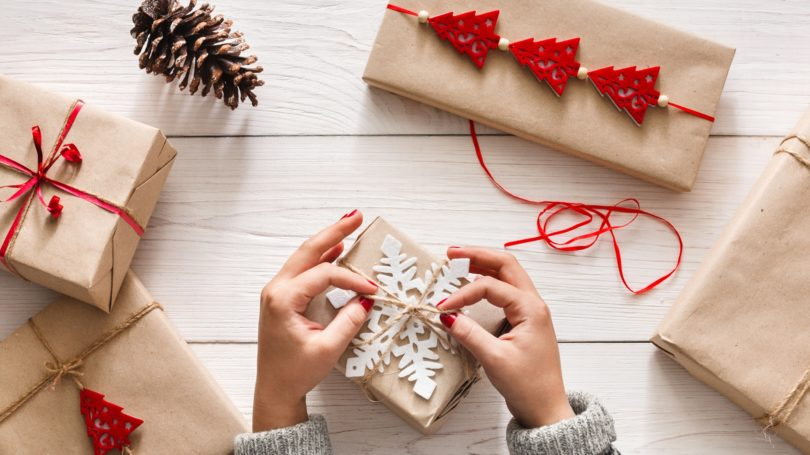 Gift Wrapping Hand Made Craft Paper Wooden Table