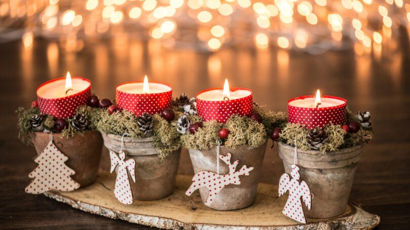 Handmade Christmas Decorations Plant Pot Candles Organiments Lights