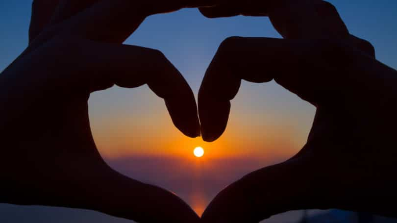 Heart Sign With Hands Sunset Horizon