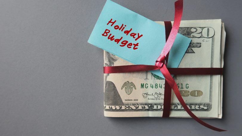 Holiday Budget Cash Wrapped In Ribbon Shopping Fund