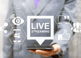 Live Streaming Tablet Phone Web Social Media Broadcast Man Suit