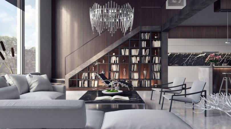 Luxury Interior Chandelier Bookshelf Mansion