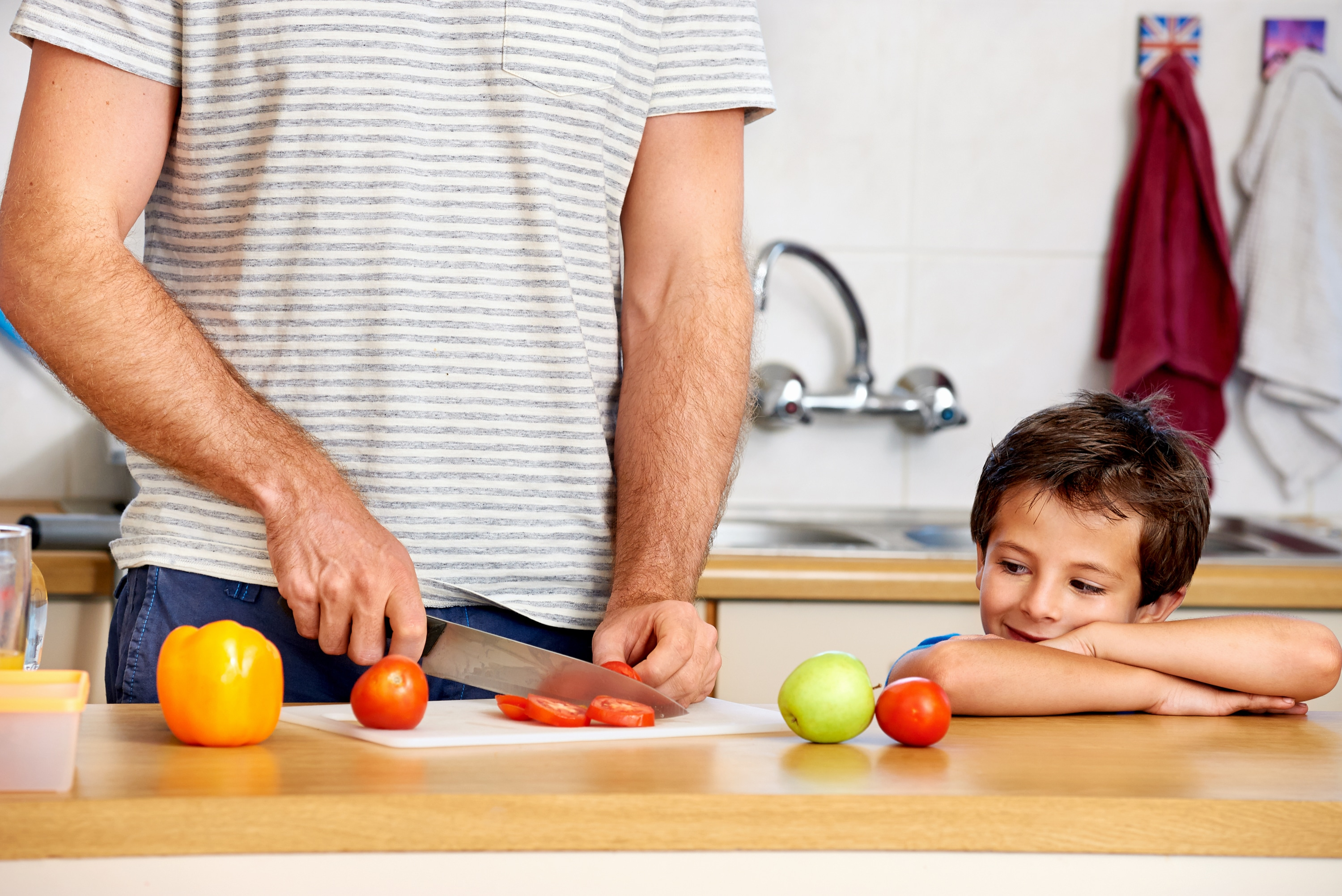 Man Dad Cooking With Son Chopping