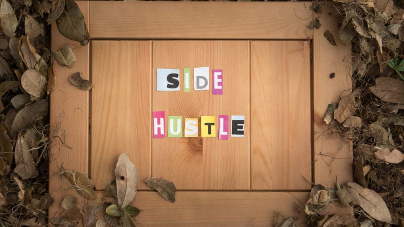 Side Hustle Letters Cutout Wooden Board Leaves