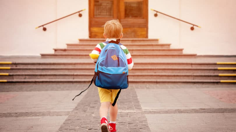 Young Boy Going To School Backpack