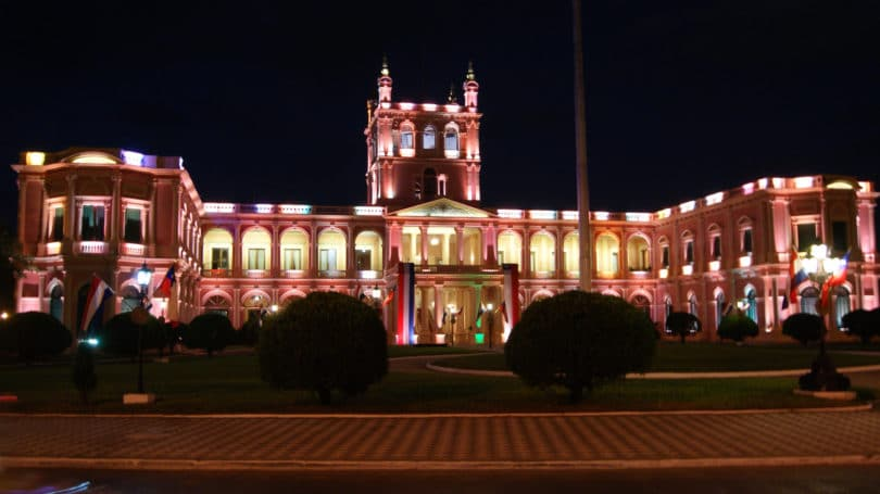 Asuncion Paraguay Pink Presidential Palace Night View