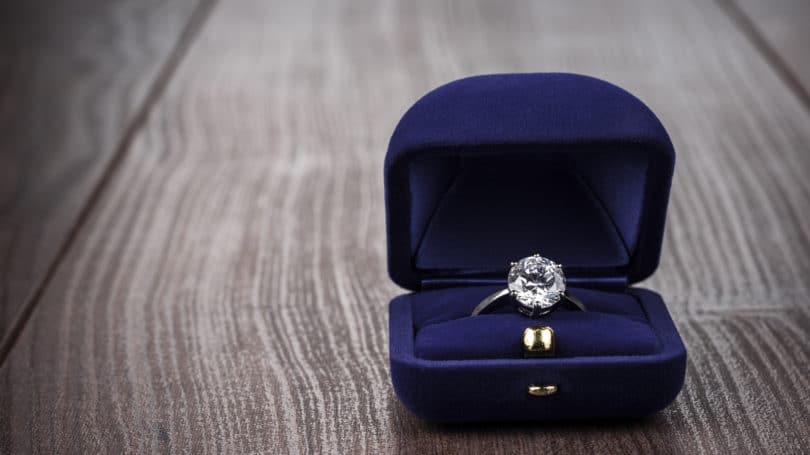 Engagement Ring Blue Velvet Box