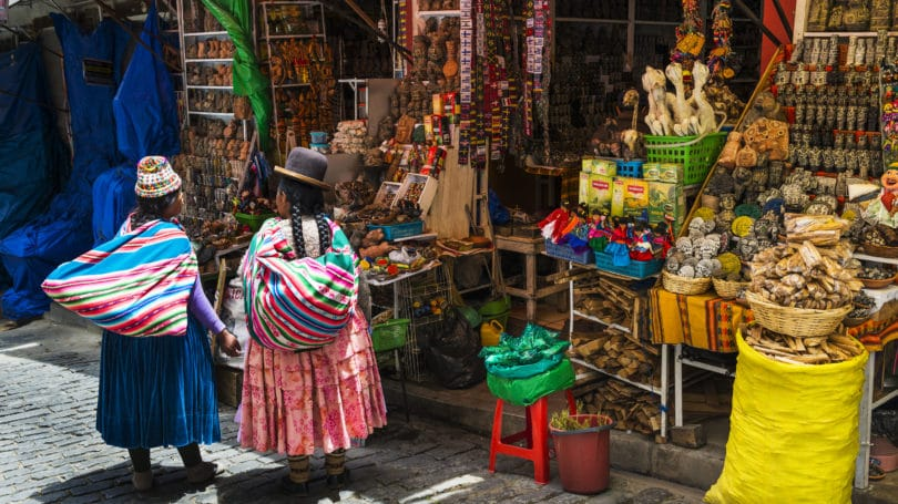 La Paz Bolivia Women In Traditional Clothing Shopping In Streets