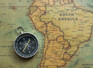 South America Map Compass