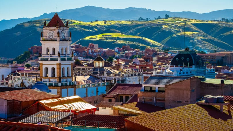 Sucre Bolivia Hills Town Sunny Day