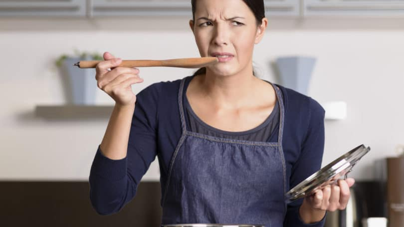 Woman Tasting Cooking Not Good Kitchen