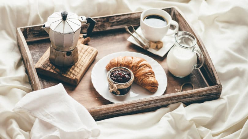 Breakfast In Bed Tray Croissant Coffee Milk Sheets