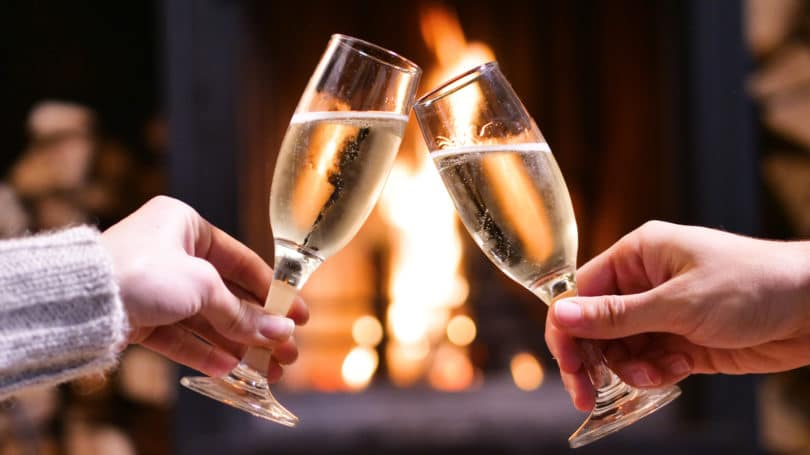 Champagne Flutes Fireplace Couple Date Night
