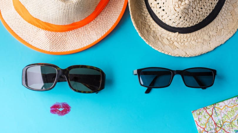 Couple Vacation His Hers Sunglasses Hat