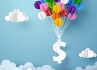 Dollar Sign Balloons Paper Craft Clouds