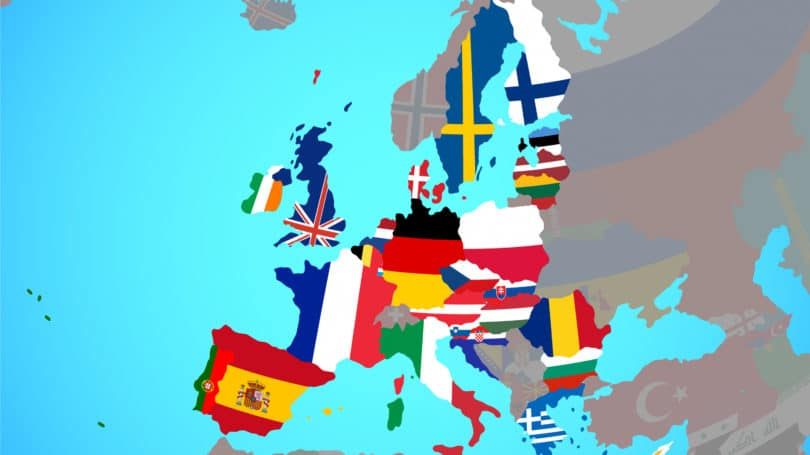 European Union National Flags Map