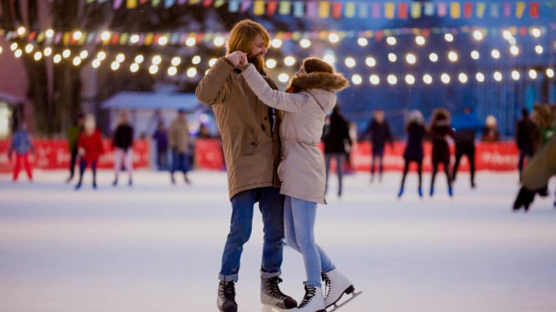 Ice Skating Couple Date Night Outdoors
