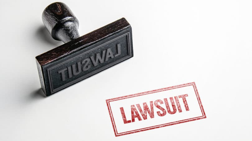 Lawsuit Stamp Red
