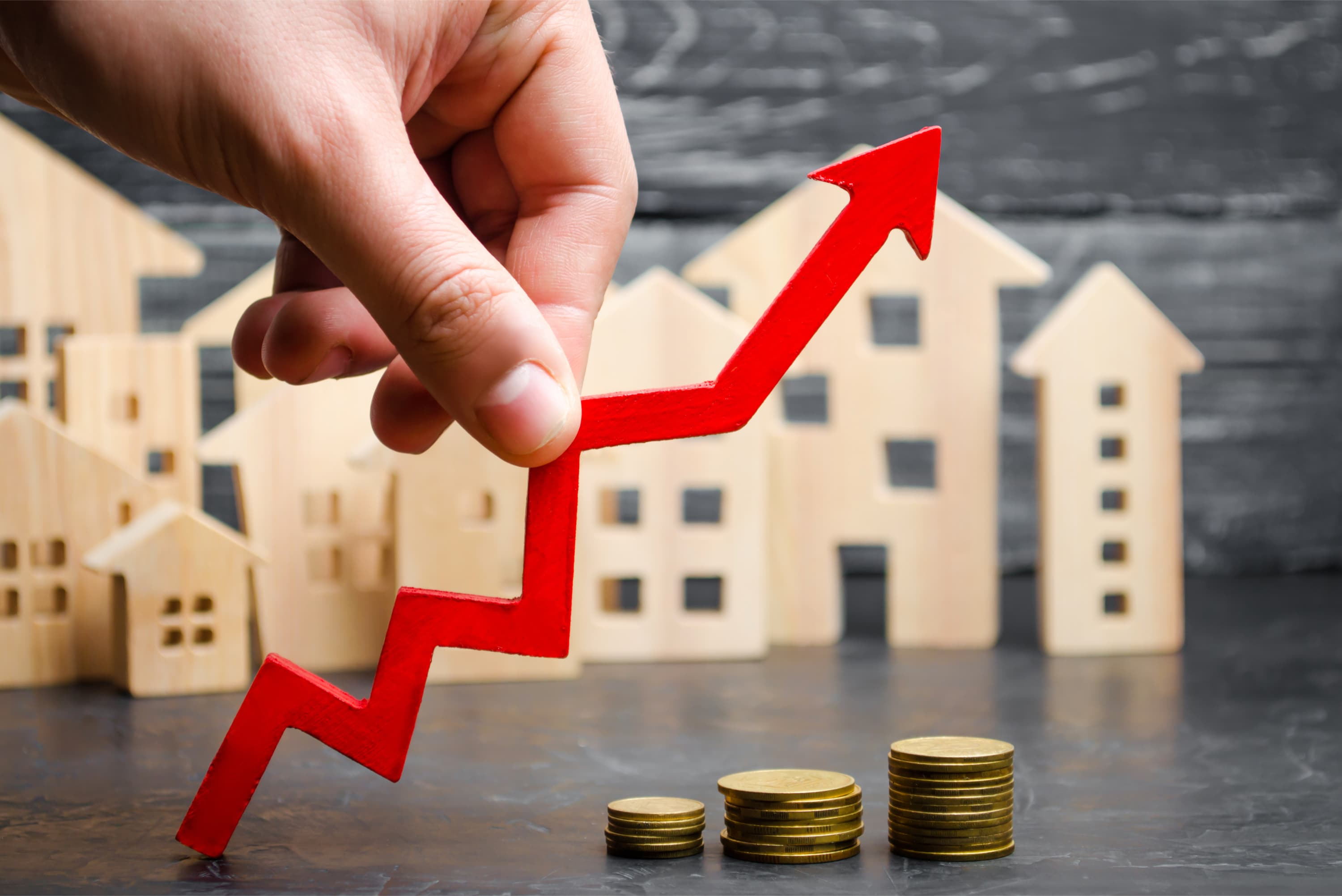 real-estate-coins-stacked-arrow-up-great