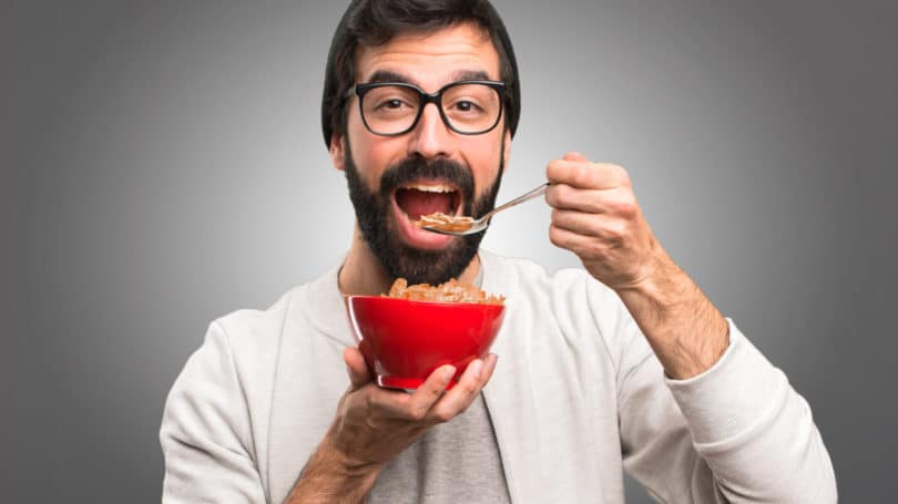 Adult Man Eating Cereal Bowl