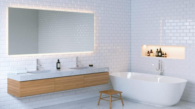 Bathroom Lighting Mirror Sink Tub Minimal Interior Design