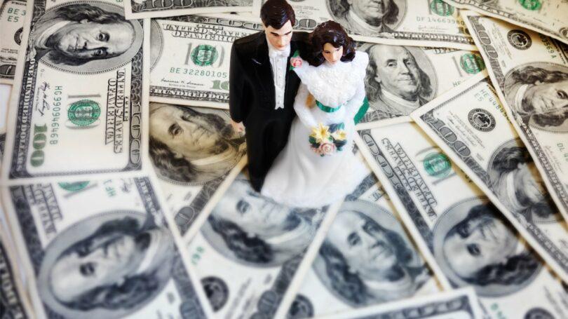 Bride Groom Wedding Money Cash Expensive Cake Topper