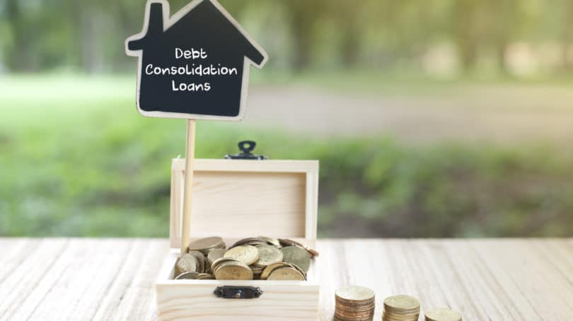 Debt Consolidation Loans Wooden Box Coins