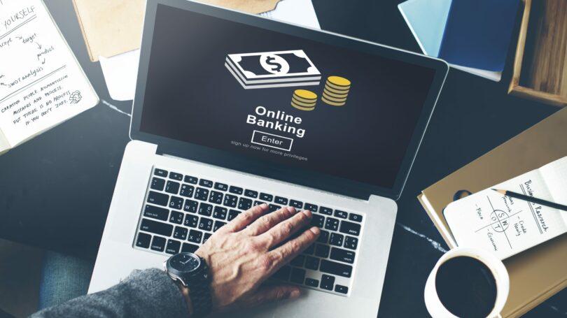 Online Banking Laptop Coffee Desk