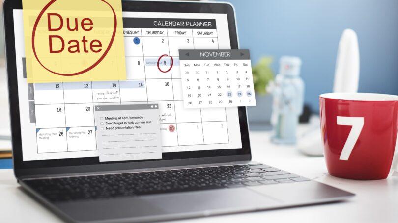 Payment Schedule Calendar Laptop Mug Reminders
