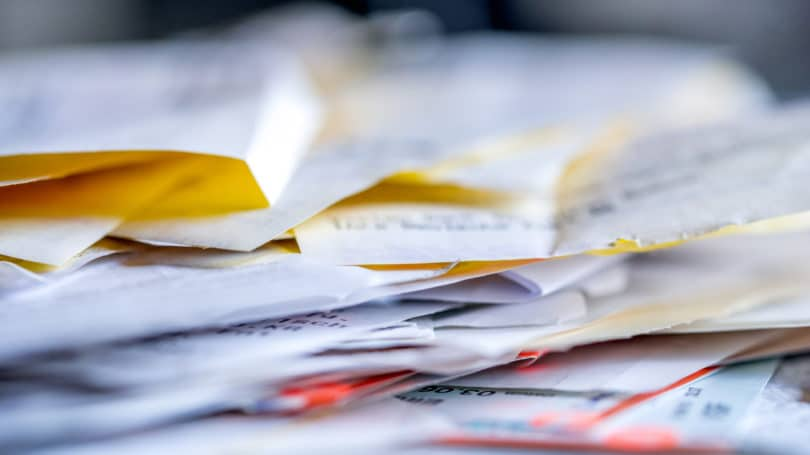 Receipts Expenses Cluttered Pile