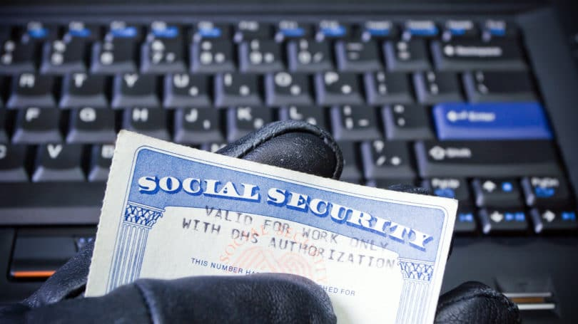 Social Security Identiy Stolen Hacker Keyboard Gloves Thief