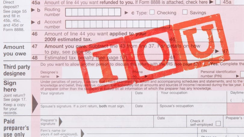 Tax Form Iou I O U Unable To Pay