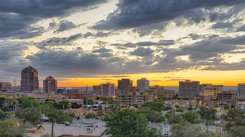 Albuquerque New Mexico Skyline At Sunset