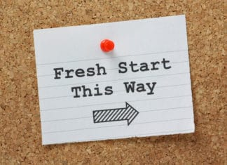 Fresh Start This Way Arrow Thumg Tack Cork Board