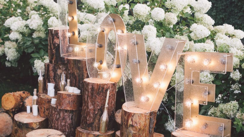 Wedding Love Light Letters Rustic Ornate Candles Magical