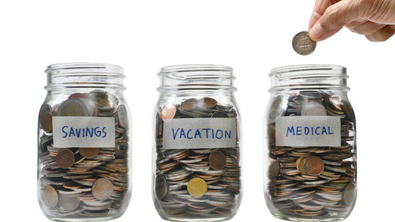 Savings Jars Vacation Medical Monetary Goals Coins