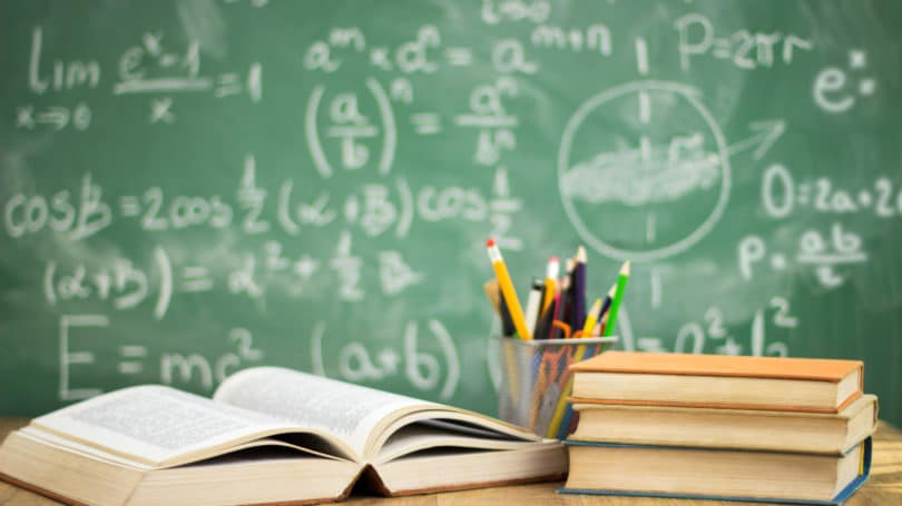 Classroom Textbooks Pens Pencil Algebra Physics Formulas