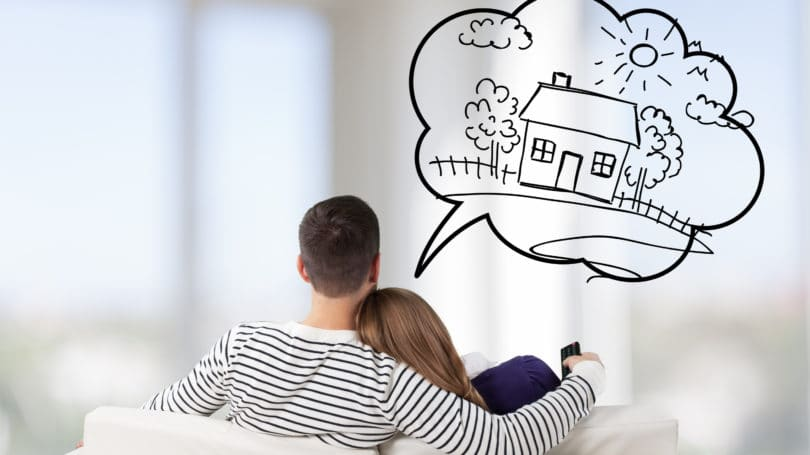 Couple Dreaming About Buying Home Thinking Goals